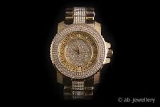 Men's Gold Plated simulated diamond hip hop rapper Watch  XL bling hip hop ice