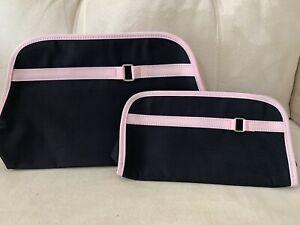LANCOME 2 Sets Black Pink Large Cosmetic Makeup Bag Plus Comparement Clutch 🎁