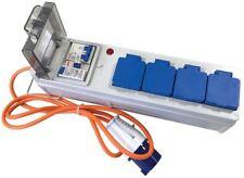Travel Caravan Motorhome Campsite RCD Lead Power Hook Up 4 Way Mobile Mains Unit
