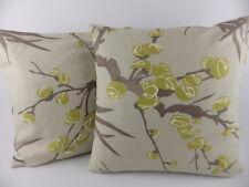 "Romo Cio Cio Fabric Pillow Linen Cushion Cover Large 18"" Green Beige Scatter"