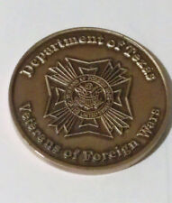 """VFW Department of Texas Welcome Home Challenge Coins 1 """" DIA"""