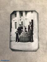 Rare scene of President A.Lincoln Family in front of whitehouse tintype C1065BRP