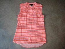 Attention Womens XS Sleeveless Button Front Blouse/Top Orange & White NWT