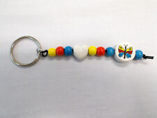 CERAMIC BEAD YELLOW RED BLUE BUTTERFLY DISC & WHITE HEART SHAPE KEY CHAIN RING