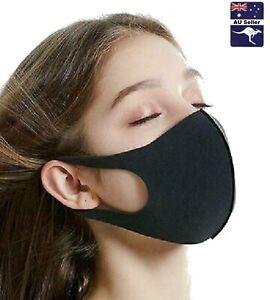 Face Mask Black Fashion Washable Fabric Mask - FREE POSTAGE