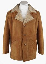 Jeffrey Brown Vintage Rancher Sherpa Suede Leather Coat Brown Size 44