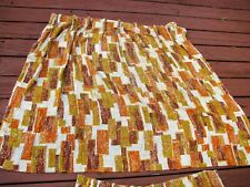 Vtg Curtains Mcm Barkcloth Pair Pinch Pleat Draperies Abstract Modernist Wide