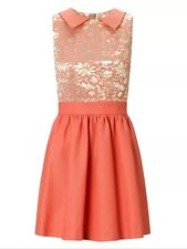 BNWT🌹MONSOON🌹 Size 14 Bella Coral&Gold Jacquard Skater Dress Evening Party New