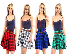 Ladies Women Plus Size Tartan Check Pleated Flared Belted Mini Skater Skirt 8-22