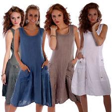 Markenlose unifarbene Damenkleider mit Rundhals-Ausschnitt