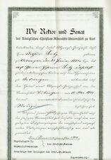 Zeugnis Christian-Albrechts-Universität Kiel 1901 Medizin Arthur Seitz Leipzig
