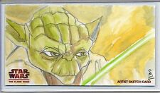 YODA Topps STAR WARS CLONE WARS Widevision SKETCH by JASON SOBOL