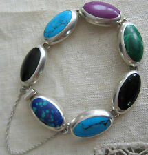 ESTATE STERLING SILVER OVAL MALACHITE TURQUOISE ONYX BRACELET HAND MADE