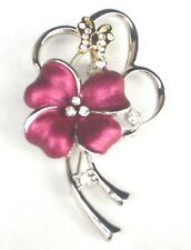Flower Brooch Pin Crystal Butterfly Charm Silver And Gold Plated Metal Enamel