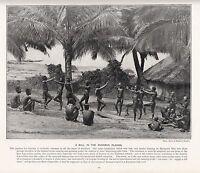 1897 Viktorianisch Aufdruck ~Andaman Inseln~ Native Leute Tanzend Spielt Tom ´ S