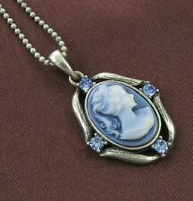 Blue Stones Design CAMEO Necklace Chain Pendant Antique Silver Vintage Style 5b