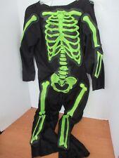 Black with GLOW IN THE DARK GREEN BONES SKELETON Halloween COSTUME~Boys Medium