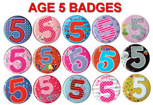 AGE 5 BIRTHDAY BADGE 15 DESIGNS for GIRL or BOY AGE 5