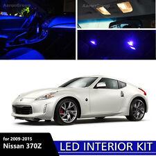 9PCS Blue Interior LED Light for 2009 - 2015 Nissan 370Z White for License Plate