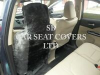 i - TO FIT A MINI CLUBMAN CAR, FRONT S/ COVERS, GREY DIAMOND FAUX FUR