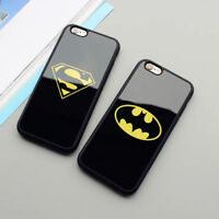Negro Batman Superman TPU Suave Espalda Funda para Apple iPhone 5 5s 6 6s 7