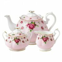 Royal Albert New Country Roses Pink 3-Piece Tea Set NEW IN THE BOX