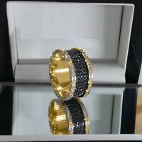 Solid 10k Yellow Gold 2.50ct Round Black Diamond Full Eternity Wedding Band Ring