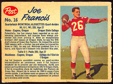 1962 POST CFL FOOTBALL 16 JOE FRANCIS NM MONTREAL ALOUETTES OREGON STATE PACKERS