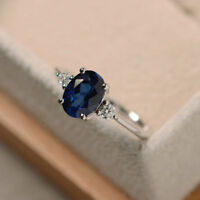 1.70 Ct Oval Cut Natural Blue Sapphire Real Diamond Ring 14K White Gold Size 5 7