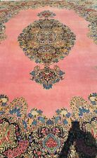 9 X14 Hand Knotted Area Rug Woven Pink Persian Iran Vintage Antique
