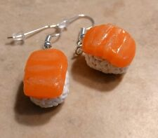 Nigiri Miniature Sushi Charm Earrings Clay Charms Food Sushi Silver Wires