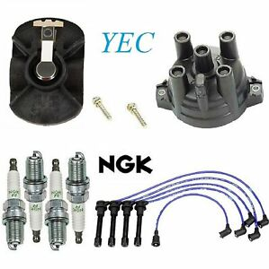 Tune Up Kit Cap Rotor Spark Plugs Wire FIT Nissan 240SX L4; 2.4L 1991-1994
