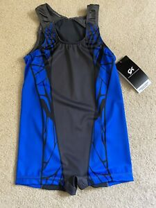 GK Elite BOYS X-LARGE Gymnastic Competition Shirt Blue Gray Singlet Child XL CXL