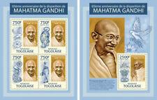 Mahatma Gandhi India Independence Politics Togo MNH stamp set
