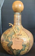 Noymez Decanter Wrapped Leather Old World Map Wood Stopper Made in Italy HTF