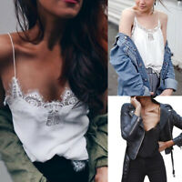 Women Lace Sleeveless Vest Tank Tops Loose V-Neck Camisole Blouse T-Shirt Summer