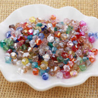 100pcs 6mm Bicone Faceted Crystal Glass Loose Spacer Col Beads Findings Mix G4N4