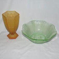 DEPRESSION GLASS COLLECTORS JOB LOT: green bowl and amber satin vase