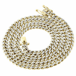 "10K Yellow Gold Over Diamond Miami Cuban Chain 6.50mm 26"" Necklace 2.70 Ct"