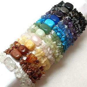 5pcs Double Chip & Gemstone Chakra Bracelets NEW Wholesale Amethyst Rose Qtz ..