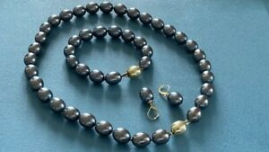 Tahiti Perlenkette, Armband, Ohrringe - Verschluss in 585 Gelbgold