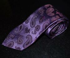 "ALTEA MILANO Thick Silk Neck Tie Purple Paisley 59.5"" 3.75"" Hand made in Italy"