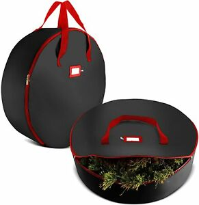 Tear Resistant Christmas Wreath Storage Bag 2 Pck 24'' Black