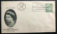 1953 Colombo Ceylon First Day Cover FDC Queen Elizabeth II Coronation QE2 Local