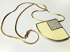 Givenchy Bijoux Vintage 1982 Fan-Shaped Pendant with Rhinestones & Lacquer Inlay