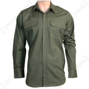 Military Style Army Olive Green 100% Cotton Ripstop Field Shirt