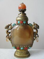 Antique 19th Century Tibet CHINESE Gilt SILVER Agate SNUFF Bottle Dragons STONES