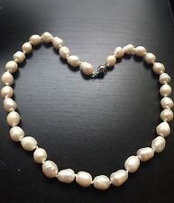Rare Large 12mm-15mm Natural Cream  Freshwater Pearl Necklace Choker Gold Plated