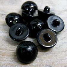 Pk 10 15mm Shinny Black half ball buttons with rear shank  Teddy Nose Eyes B25
