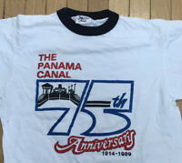 Panama Canal T Shirt Adult S White Ringer 75th Anniversary Vintage 90s USA Rare